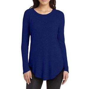 Chaser Blue Thermal Waffle Knit Long Sleeves Tunic